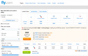 NYC to Anitgua: Fly.com Results Page