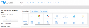 NYC to Barcelona: Fly.com Results Page
