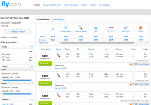 NYC to Ibiza: Fly.com Results Page