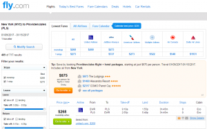 NYC to Turks & Caicos: Fly.com Results Page