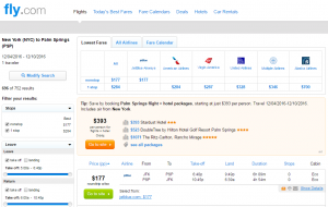 NYC to Palm Springs: Fly.com Results Page