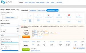 NYC to St. Lucia: Fly.com Results Page