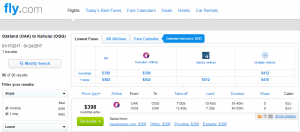 Oakland to Maui: Fly.com Results Page