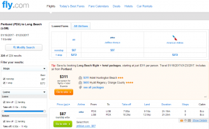 Portland to Long Beach: Fly.com Results Page