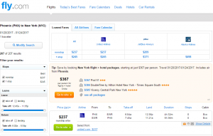 Phoenix to NYC: Fly.com Results Page