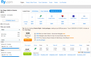 San Diego to Orlando: Fly.com Results Page