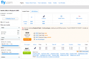 Seattle to Iceland: Fly.com Results Page