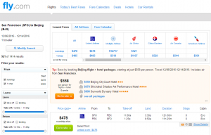 San Francisco to Beijing: Fly.com Results Page