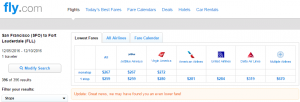 SF to Ft Lauderdale: Fly.com Results Page