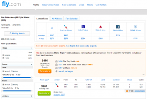 SF to Miami: Fly.com Results Page