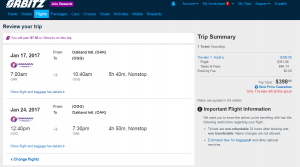 Oakland to Maui: Orbitz Booking Page
