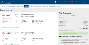 LA to Delhi: Travelocity Booking Page