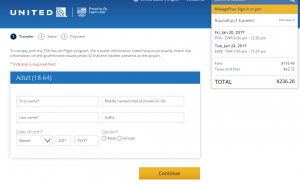 Phoenix to NYC: United Booking Page