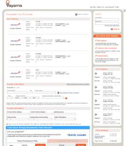 LA to Johannesburg: Vayama Booking Page