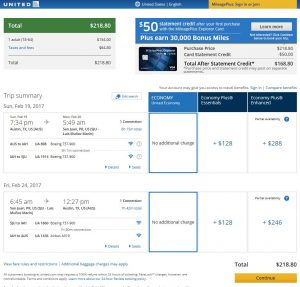 AUS-SJU United Airlines Booking Page