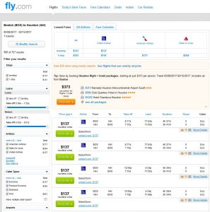 BOS-IAH Fly.com Search Results