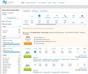 Boston to Madrid: Fly.com Results
