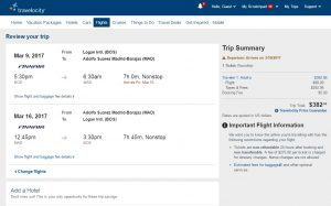 Boston to Madrid: Travelocity Booking Page