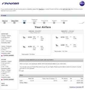 CHI-BUD: Finnair Booking Page ($429)