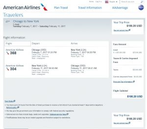 CHI-NYC American Airlines Booking Page ($107)