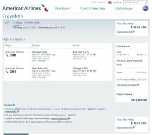 CHI-NYC American Airlines Booking Page ($117)