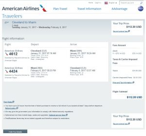 CLE-MIA: American Airlines Booking Page