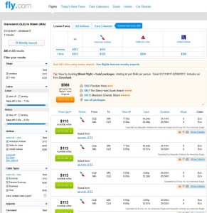 CLE-MIA: Fly.com Search Results