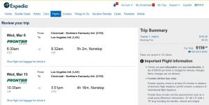 CVG-LAX Expedia Booking Page ($157)