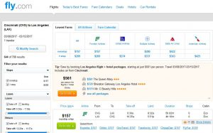 CVG-LAX Fly.com Search Results ($157)