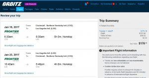 CVG-LAX Orbitz Booking Page ($177)