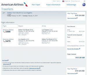 DFW-LAX: American Airlines Booking Page ($132)
