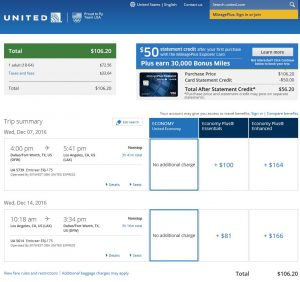 DFW-LAX: United Airlines Booking Page ($107)