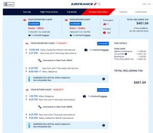 DFW-MXP Air France Booking Page