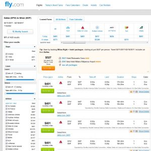 DFW-MXP Fly.com Search Results