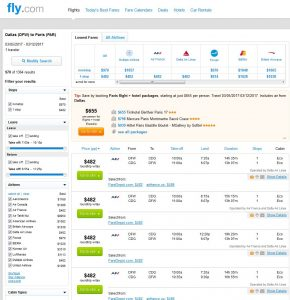 DFW-PAR Fly.com Search Results