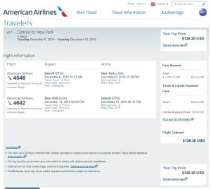 DTW-NYC American Airlines Booking Page ($127)