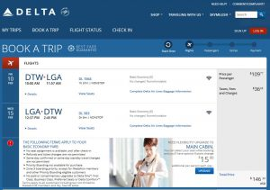DTW-NYC Delta Air Lines Booking Page ($147)