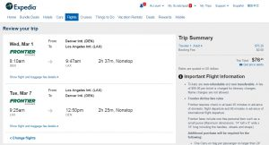 Denver to Los Angeles: Expedia.com Booking Page