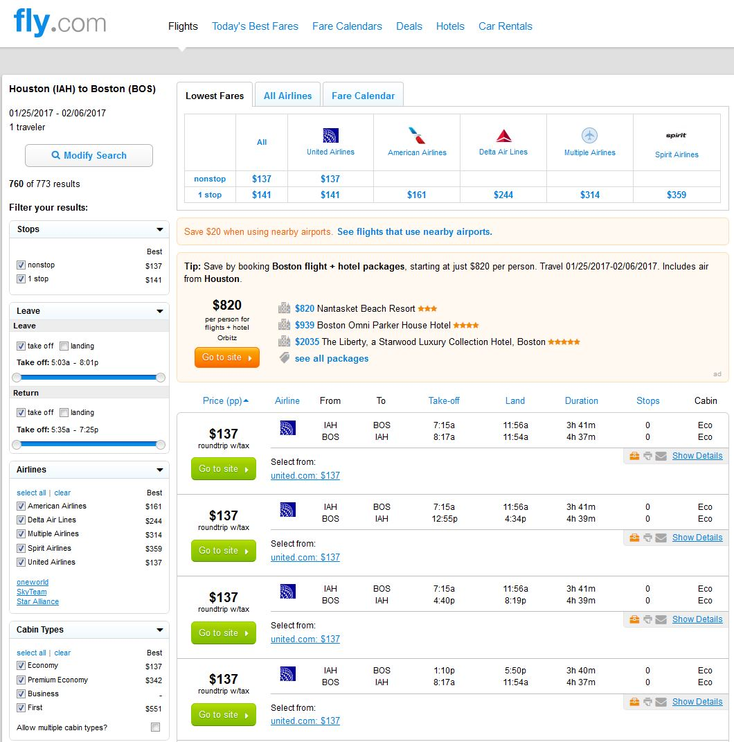 Search Results: $137 -- Houston To/from Boston Nonstop (R/T)
