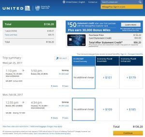 IAH-BOS United Airlines Booking Page
