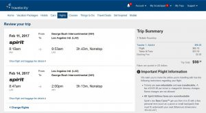 IAH-LAX Travelocity Booking Page