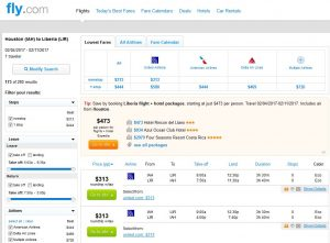 IAH-LIR: Fly.com Search Results
