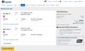 Los Angeles to Iceland: Expedia Booking Page