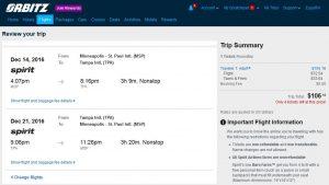 MSP-TPA: Orbitz Booking Page