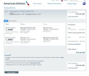Minneapolis to New York City: American Airlines Booking