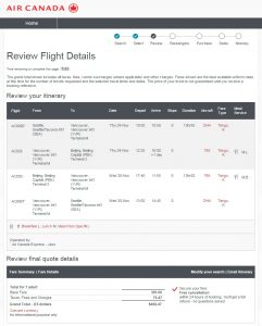 Seattle to Beijing: Air Canada Booking