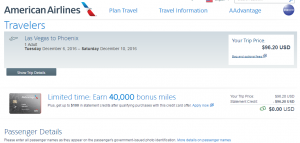 Las Vegas to Phoenix: AA Booking Page