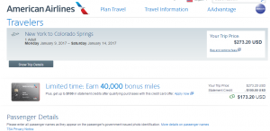 NYC to Colorado Springs: AA Booking Page