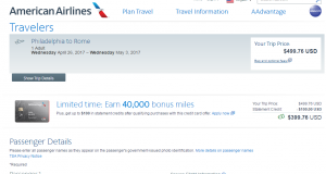 Philly to Rome: AA Booking Page