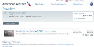 Phoenix to Las Vegas: AA Booking Page